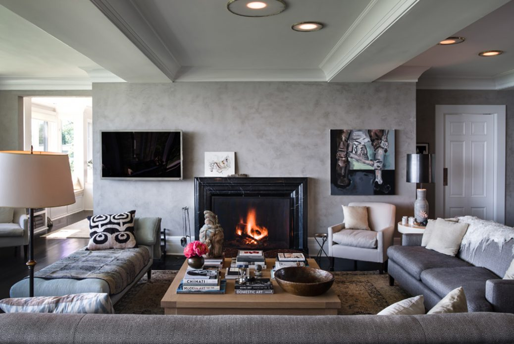 modern waterfront darien michael haverland architect living room with fireplace