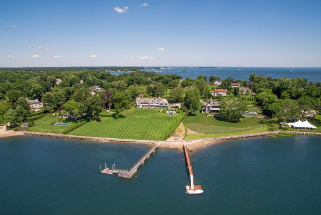 modern waterfront darien michael haverland architect areial